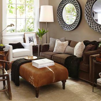 Cowhide Ottoman, Transitional, living room, Benjamin Moore Brandon Beige, Urrutia Design