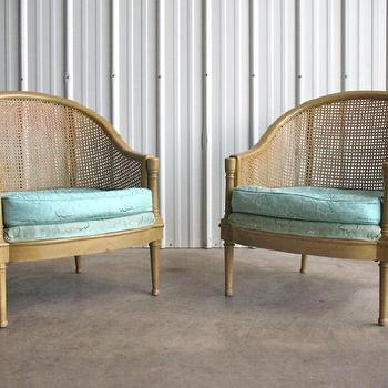 Hollywood Regency Pair Cane Lounge Chair Probber Baker, eBay