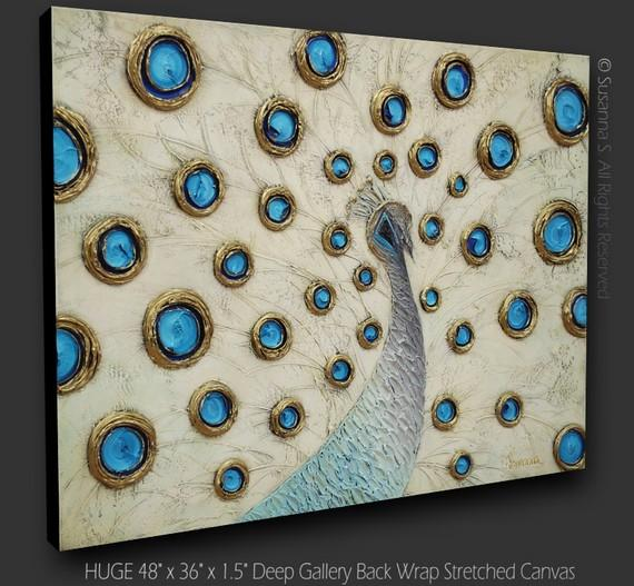 Original abstract white peacock painting huge by for Peacock wall art