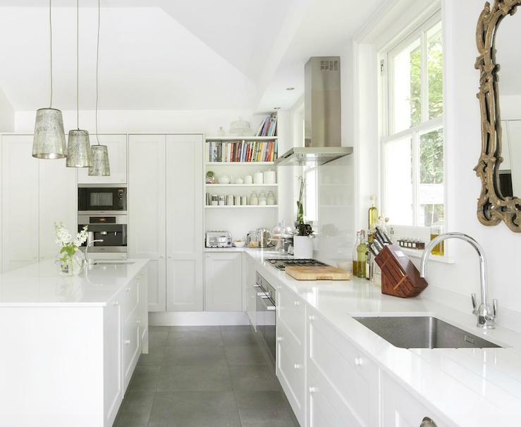Mercury glass pendants eclectic kitchen 1st option for White kitchen cabinets tile floor