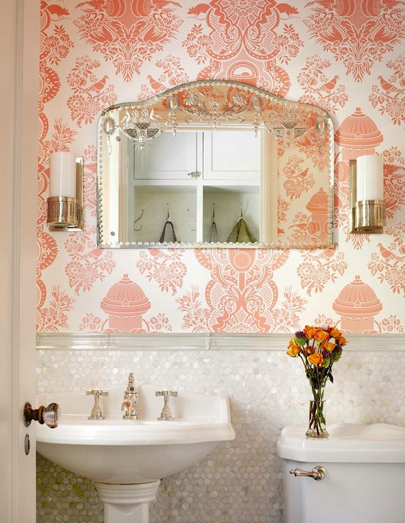 Pink damask wallpaper traditional bathroom alan for Pink and gold bathroom decor