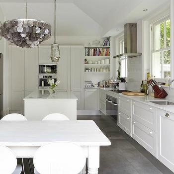 Gray Capiz Chandelie r- Eclectic, kitchen, 1st Option