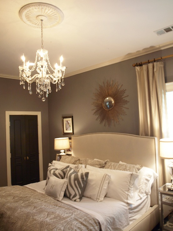 Gray walls contemporary bedroom ralph lauren Decorating ideas for bedroom with gray walls