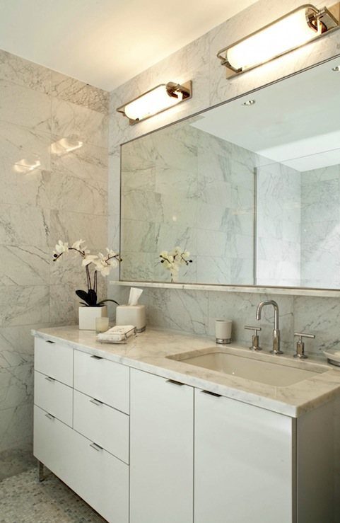 white bathroom cabinets. modern marble bathroom design with white cabinet vanity, counter tops, polished chrome faucet, sconces, mosaic tiles cabinets r