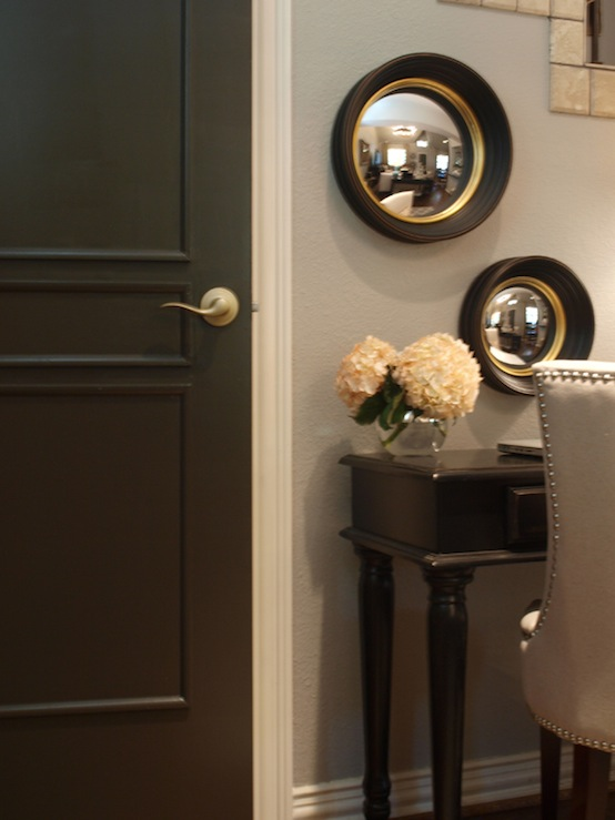 black walls transitional entrance foyer benjamin moore dragons. Black Bedroom Furniture Sets. Home Design Ideas