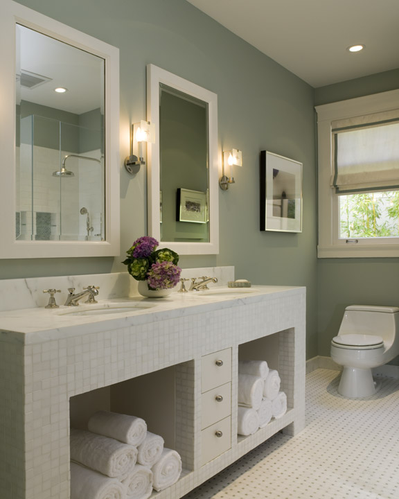 Sage green bathroom contemporary bathroom coddington for Green bathroom paint colors