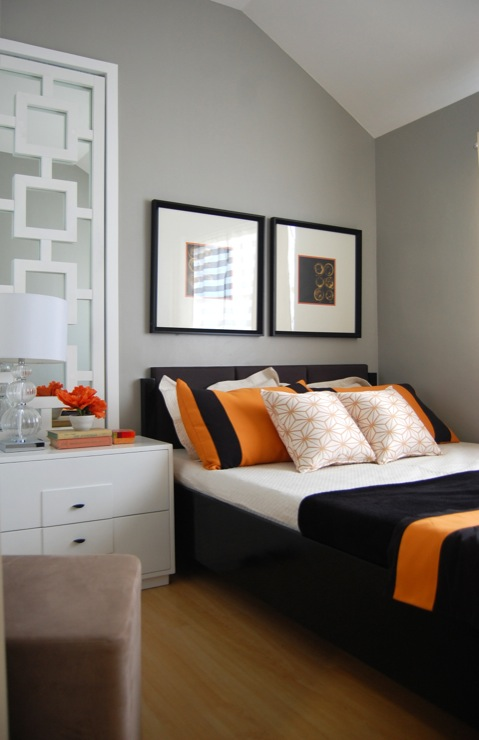 orange gray room a bedroom painted with gray shades accentuated with