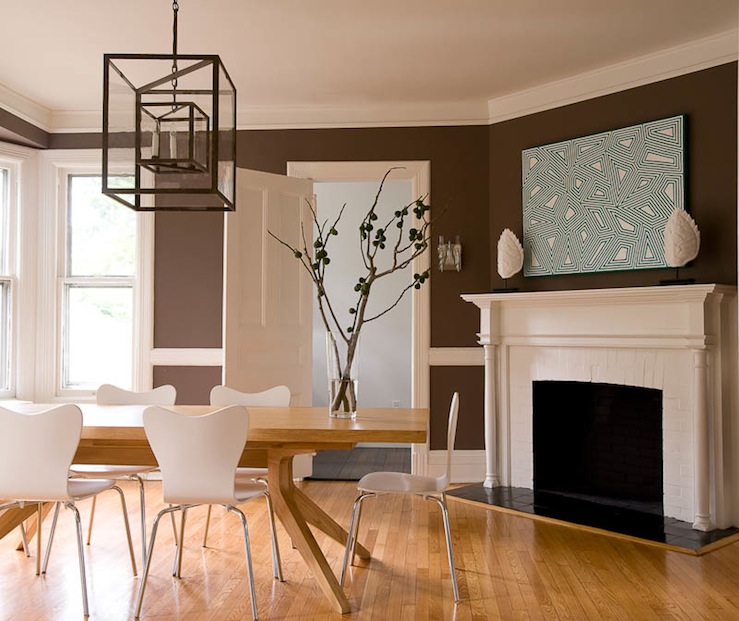 corner fireplace - Colorful Modern Dining Room