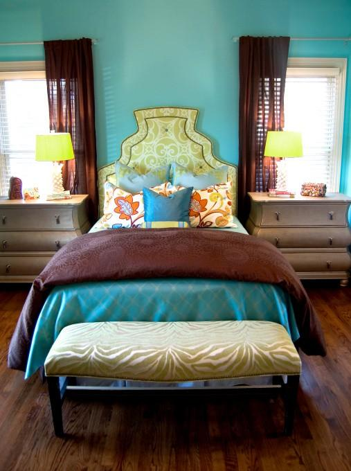 brown and turquoise bedroom. Color Inspiration  Rich turquoise and brown bedroom