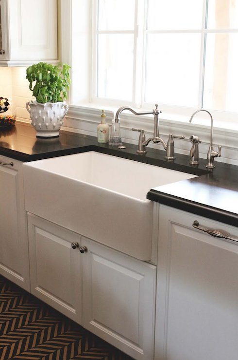 kitchen remodel with white kitchen cabinets, farmhouse sink, black