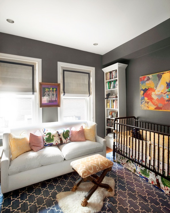 Charcoal Gray Paint Color Contemporary Nursery