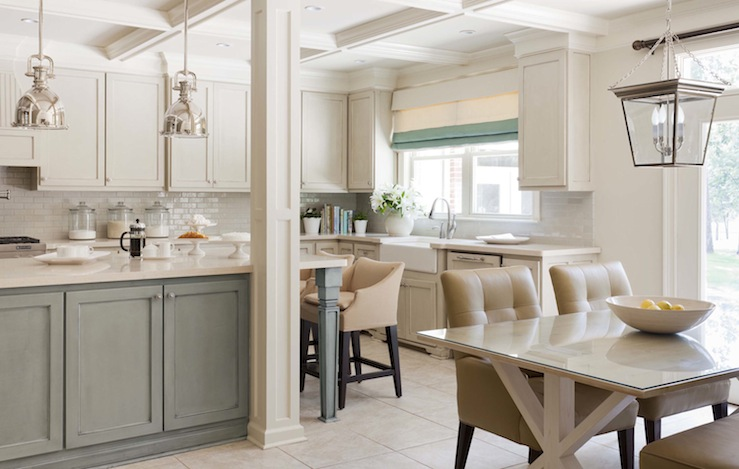 Two Tone Kitchen Transitional Kitchen Sherwin Williams Wool Skein Tobi Fairley