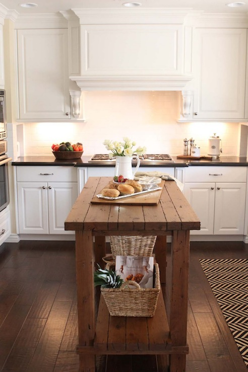 Reclaimed wood island transitional kitchen the willows home garden for Kitchen cabinet with island design