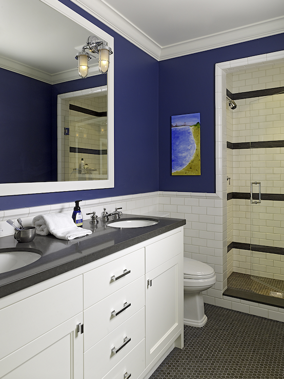 Cute Boysu0027 Bathroom Design With Bold Blue Walls Paint Color, Subway Tiles  Backsplash, Circa Lighting Marine Wall Sconce, White Double Bathroom Vanity  ... Part 42