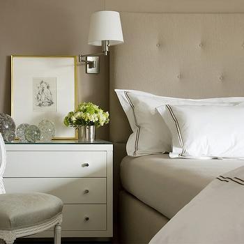 Beige Tufted Headboard, Transitional, bedroom, Charles Spada