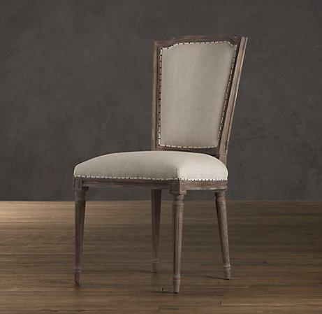 Vintage French Nailhead Upholstered Side Chair Dining