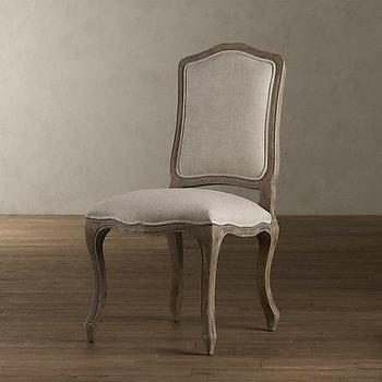 Vintage French Camelback Upholstered Side Chair, Dining Chairs, Restoration Hardware