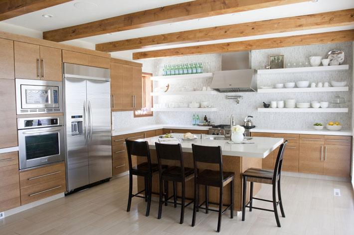 Veneer cabinets contemporary kitchen alice lane home - Modern kitchen shelving ...