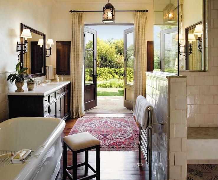 Master Bathroom French Doors Design Ideas