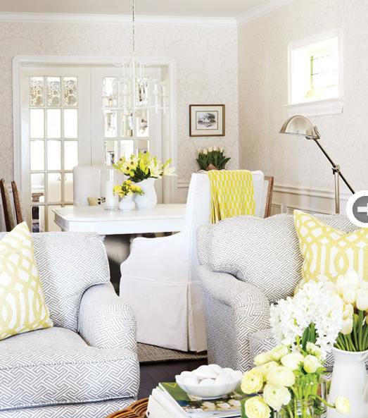 Gray and yellow room transitional dining room style for Living room yellow accents