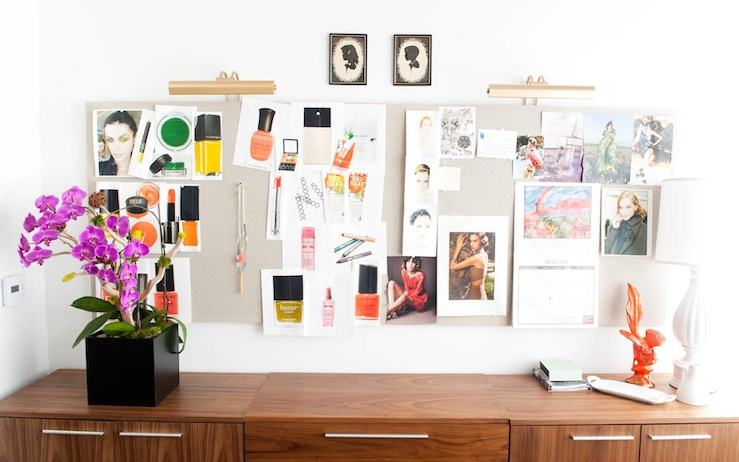 office pinboard. Whowhatwear.com - Fantastic Office Design With Linen Pin Board, Credenza And Orchid. Pinboard P
