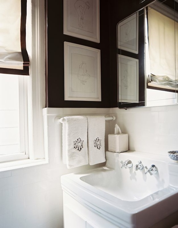 Black And White Powder Room Transitional Bathroom Lonny Magazine