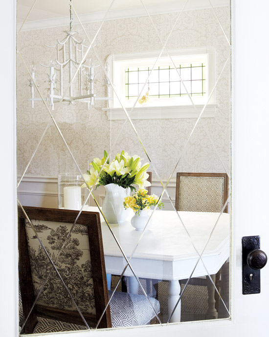 Chinoiserie chandelier design ideas photography gorgeous dining room design with white gray damask wallpaper wainscoting white pagoda chinoiserie chandelier white dining table aloadofball Choice Image