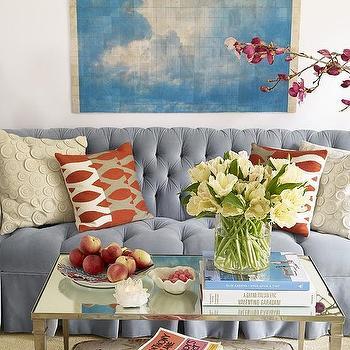 Blue Velvet Tufted Sofa, Contemporary, living room, Massucco Warner Miller