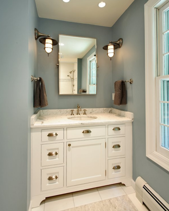 design with blue walls paint color, white bathroom cabinet vanity