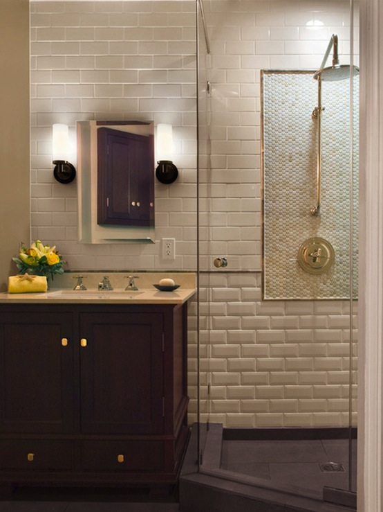 beveled subway tile transitional bathroom