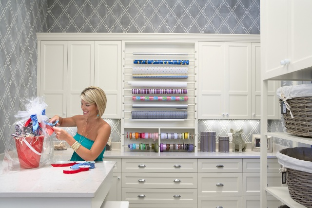 Love This Craft Room! Wrapping Station, White Cabinets, Gray Wallpaper And  Woven Baskets.