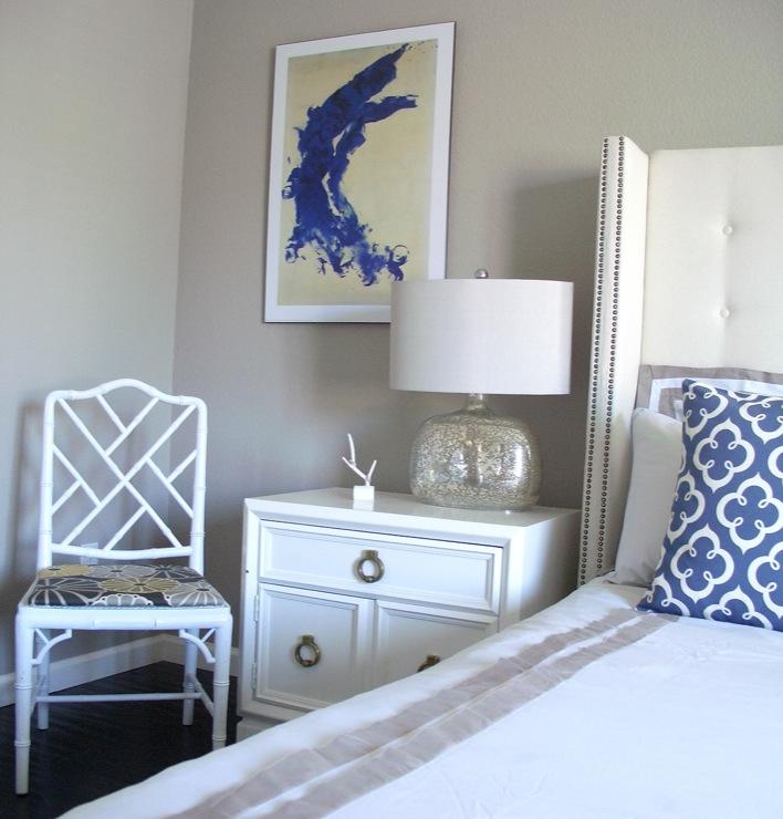 White Studded Headboard Contemporary Bedroom