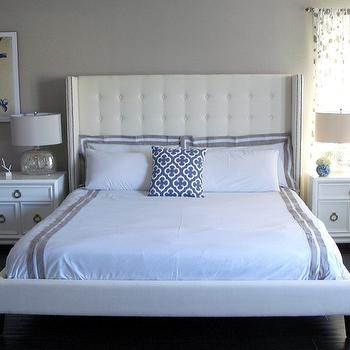 White Tufted Wingback Headboard, Contemporary, bedroom, Benjamin Moore Valley Forge Tan, Swanky Swell