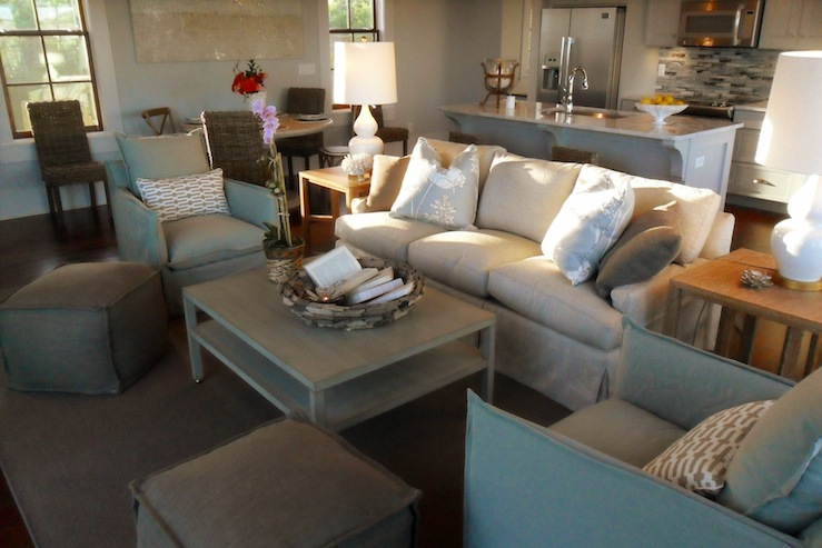 Gray Coffee Table Cottage Living Room Summer House Style