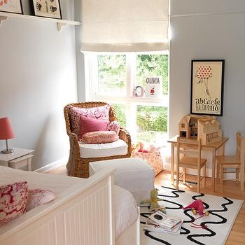 Blue Gray Paint, Contemporary, girl's room, Farrow & Ball Skylight, Muha Interiors