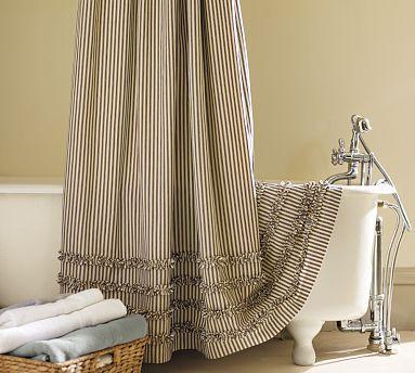 Ticking Stripe Ruffled Shower Curtain