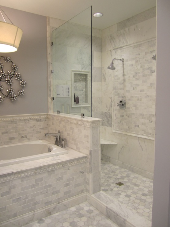 Carrera Marble Bathrooms Pictures: Carrera Marble Subway Tile Design Ideas