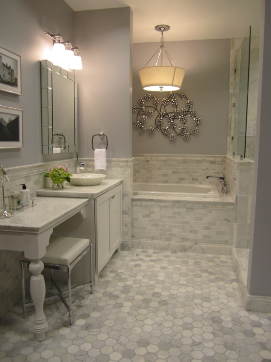 Carrera marble subway tiles transitional bathroom for Carrara marble bathroom floor designs