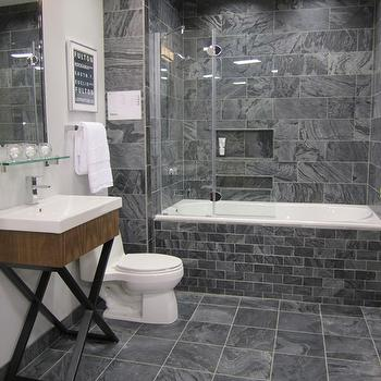 Polished Slate Tiles , Contemporary, bathroom, Sherwin Williams Passive