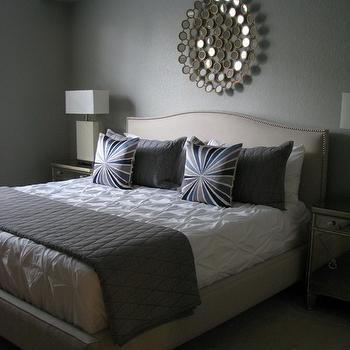 Pintuck Duvet, Contemporary, bedroom, Martha Stewart Bedford Gray