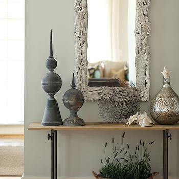 Whitewashed Driftwood Mirror, Cottage, entrance/foyer, Interior Philosophy