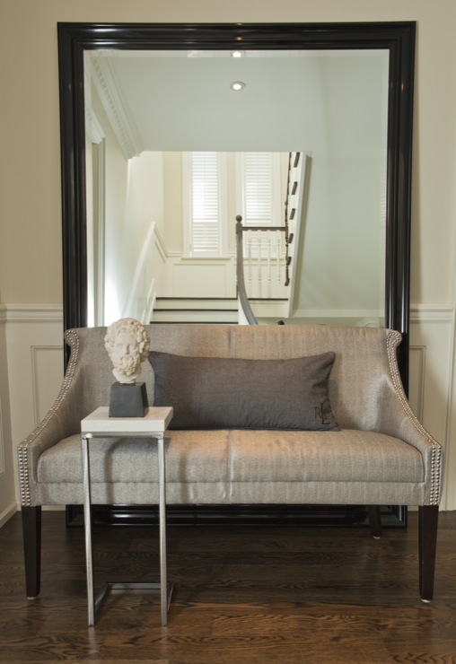 Contemporary Foyer Mirrors : Gray settee contemporary entrance foyer jennifer