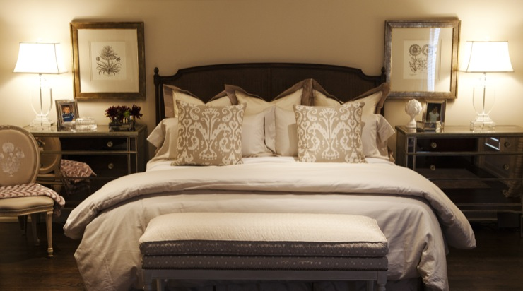 Mirrored Chest As Nightstand Transitional Bedroom Jennifer Backstein Interiors