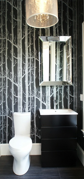 Black and white powder room contemporary bathroom for Dark bathroom wallpaper