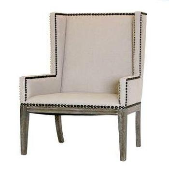Linen Nailhead Dining Chair With Arms Natural Linen Upholstery And Wood  Home Living Room Dining Room