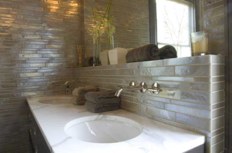 Iridescent Backsplash View Full Size. Amazing Bathroom Design With Linear Glass  Tiles ... Part 30