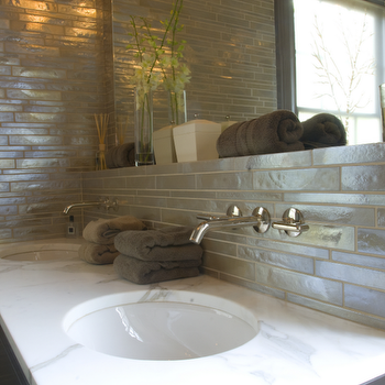 White Glass Tile Backsplash - Contemporary - bathroom - Jenny Baines