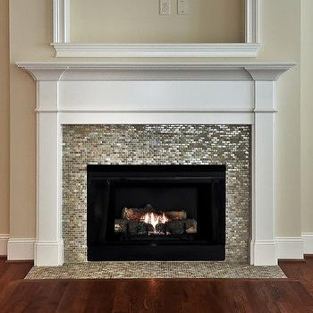 Fireplace Tile Design Ideas excellent decorating ideas usinng rectangular brown wooden mantels and contemporary fireplace tile Mosaic Tiled Fireplace