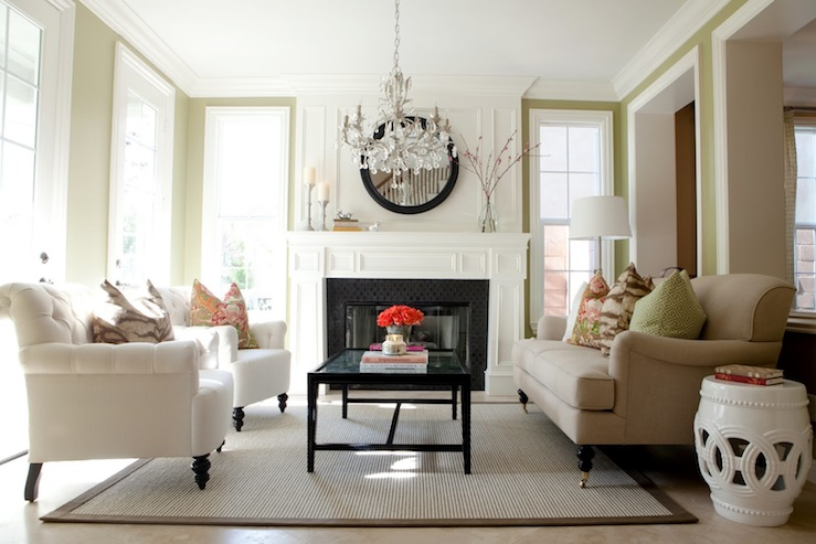 Chandelier Over Coffee Table Transitional Living Room