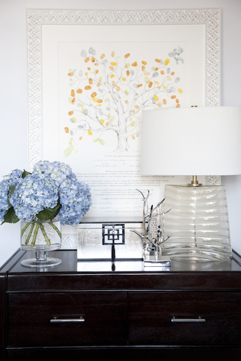 Fantastic Vignette With Glossy Black Chest, Blue Hydrangeas, Crate U0026 Barrel  Venezia Table Lamp, Silver Leaf Medallion Jewelry Box And Silver Branch  Jewelry ...